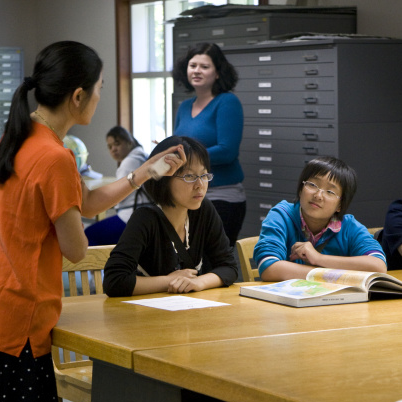 Librarian with international students