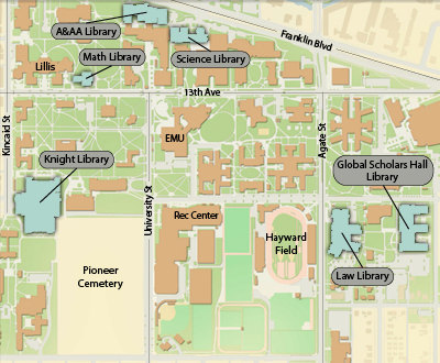 map of University of Oregon Eugene campus, showing locations of libraries