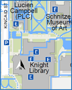 Map showing area around Knight Library