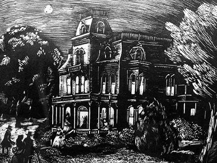 The Mansion, engraving by Constance Fowler