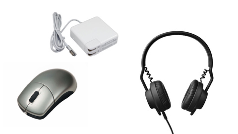 computer mice, chargers, headphones
