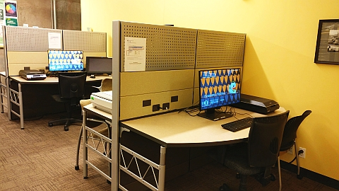 Portland Library student workstations