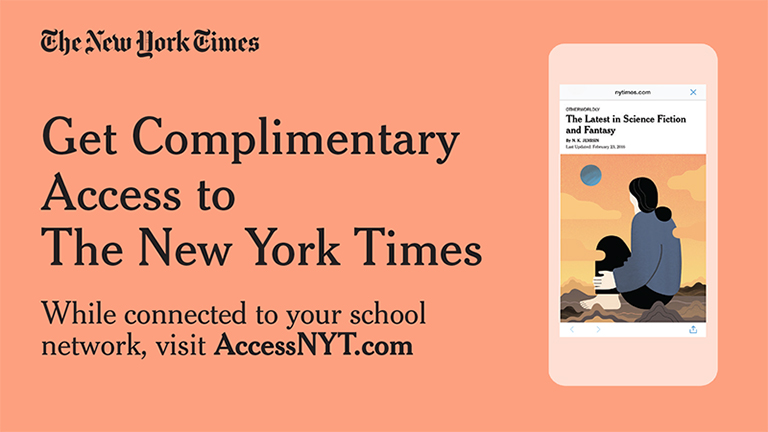 graphic with pink background that reads, Get Complimentary Access to the New York Times