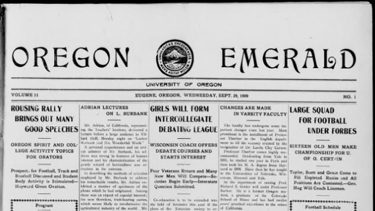 cropped photo of the first issue of the Oregon Emerald newspaper from 1909