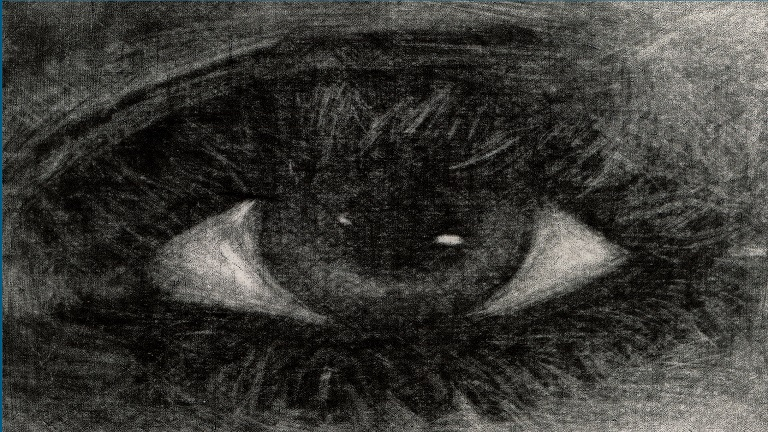 "Drawing of human eye from the cover of ""Opening the Mouth of the Dead"""