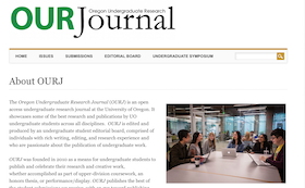 Screenshot of the Oregon Undergraduate Research Journal Homepage