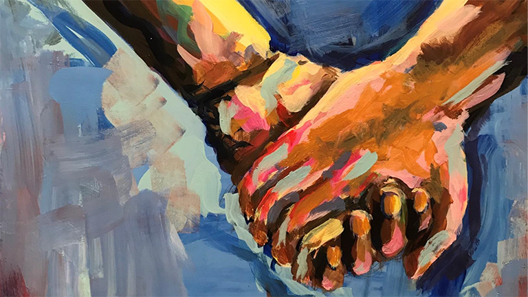 painting of two hands holding each other