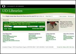 UO Libraries Website