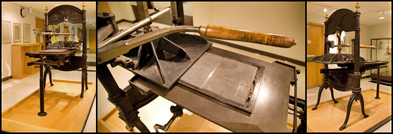 Triptych of Washington hand press used to print the Oregon Spectator (Oregon's first newspaper), photography by Amanda Garcia, Preservation Technician, UO Libraries