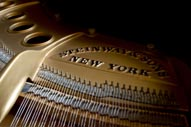 image: interior of Steinway piano in Knight Library