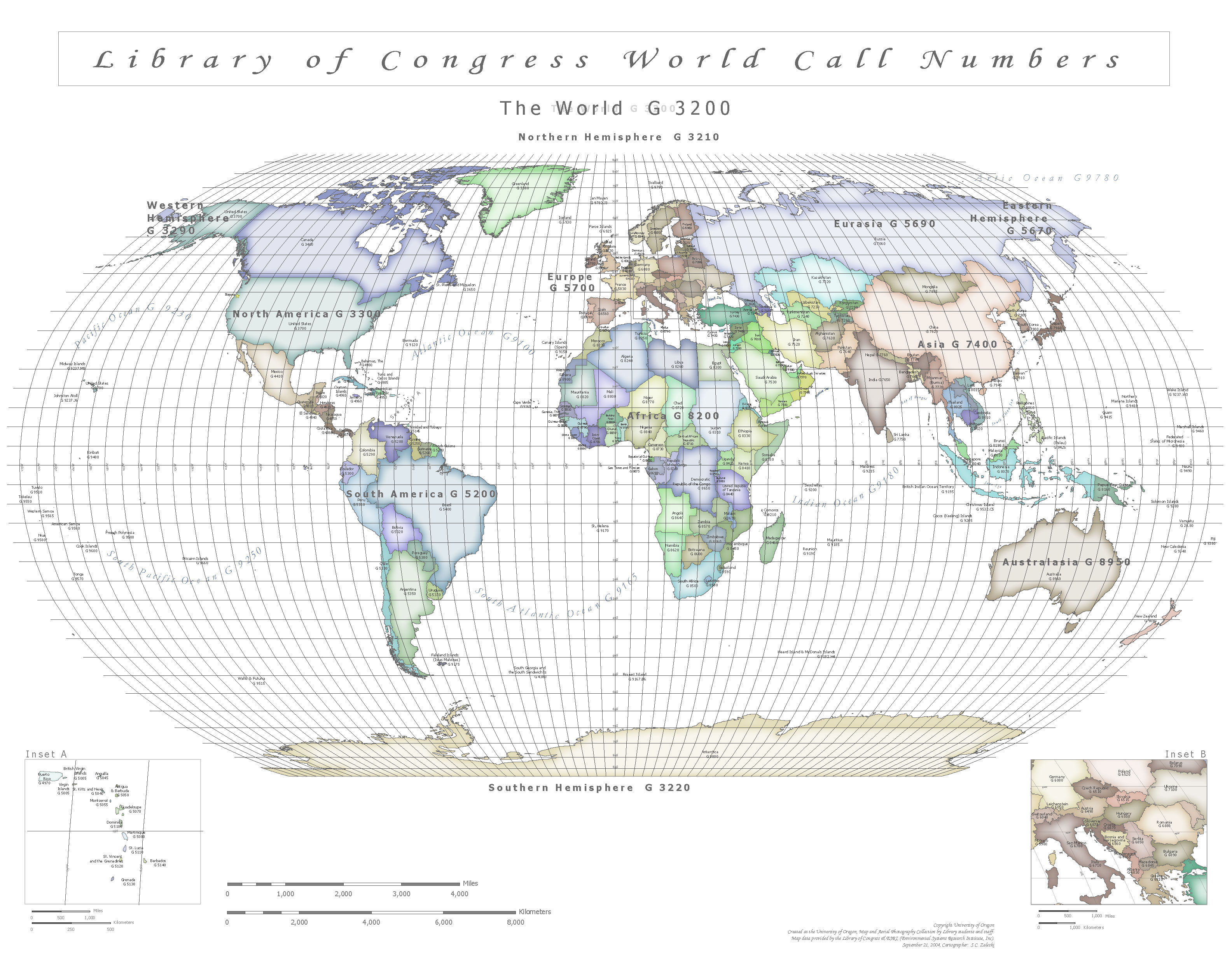 Call Number Map of the World UO Libraries
