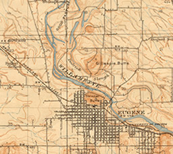 Detail of 1910 USGS map of Eugene