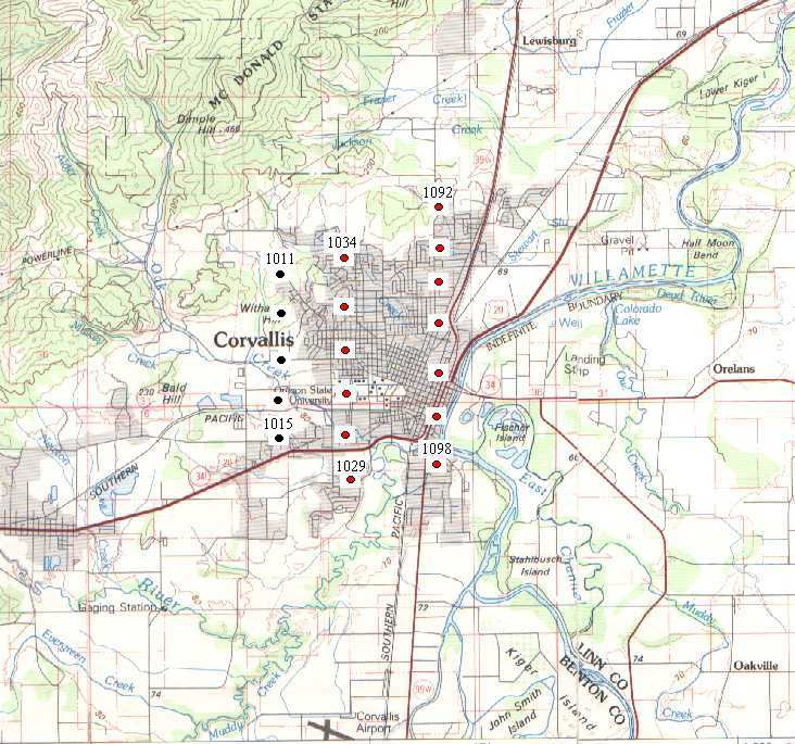 1936 Corvallis Air Photo Index Map Library UO Libraries