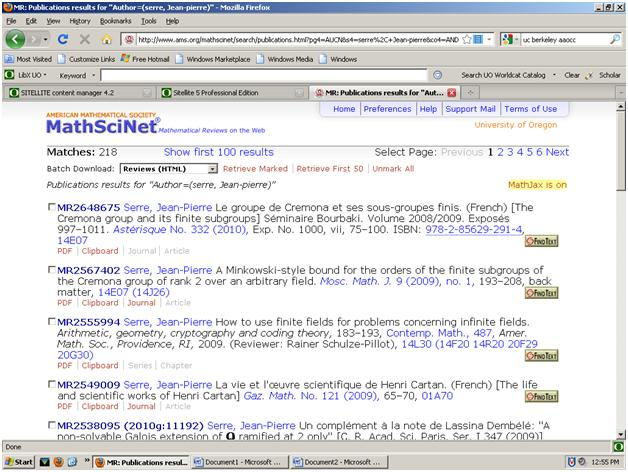 Screen shot of MathScinet