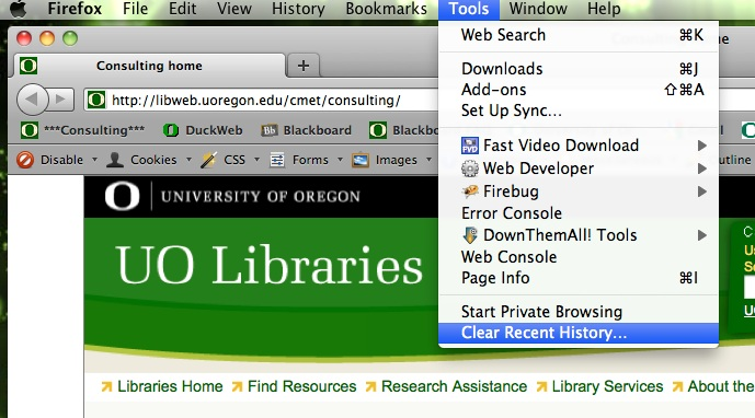 clear recent history on firefox mac