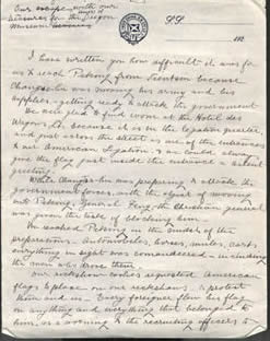 Warner letter from Peking