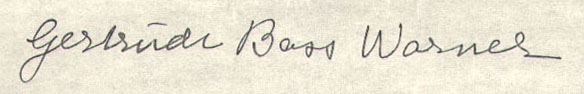 Signature of Gertrude Bass Warner