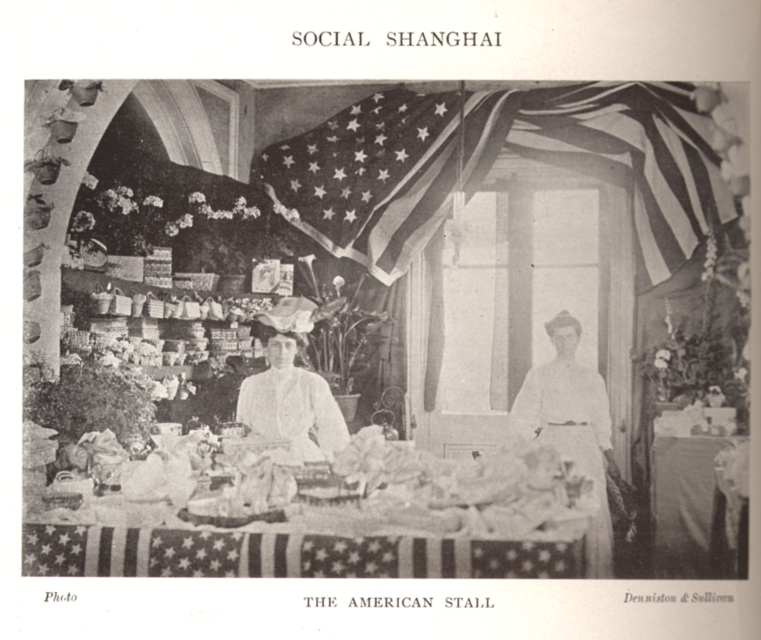 Gertrude in the American stall at a Shanghai fete, 1907