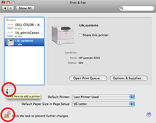 "An image of the Print and Fax panel with the ""add"" icon and ""lock"" icon highlighted."