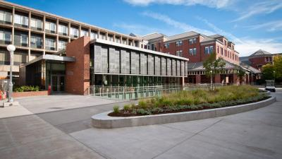 Exterior photo of Allan Price Science Commons & Research Library