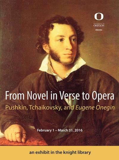 Exhibit poster features portrait painting of Aleksandr Pushkin