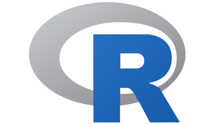 R logo, a grey circle and blue letter R