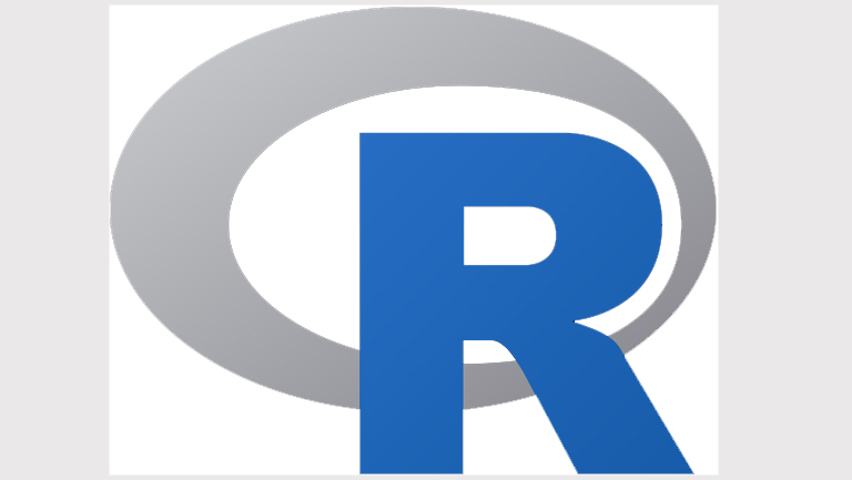 R logo, grey circle with a blue capital letter R