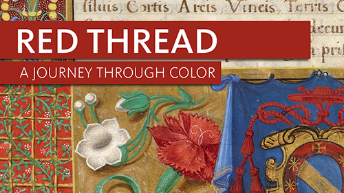 Red Thread logo with page from 16th century illuminated manuscript