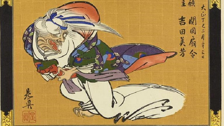 Japanese print depicts a demon in a kimono