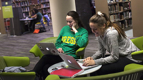 Students studying in comfortable chairs
