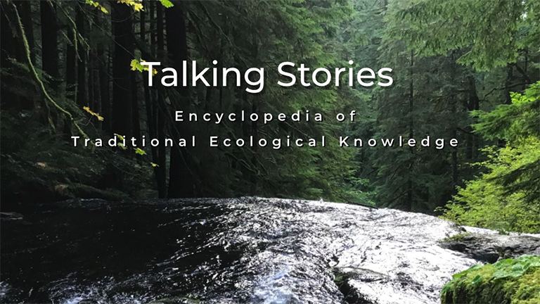 image of a river in the forest with the words, Talking Stories Encyclopedia of Traditional Ecological Knowledge