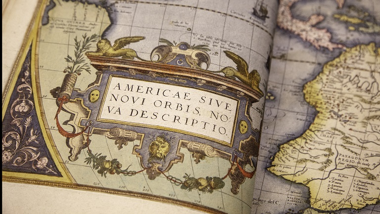 "Map of the Americas printed in ""Theatrum Orbis Terrarum"" by Abraham Ortelius, published in 1570"
