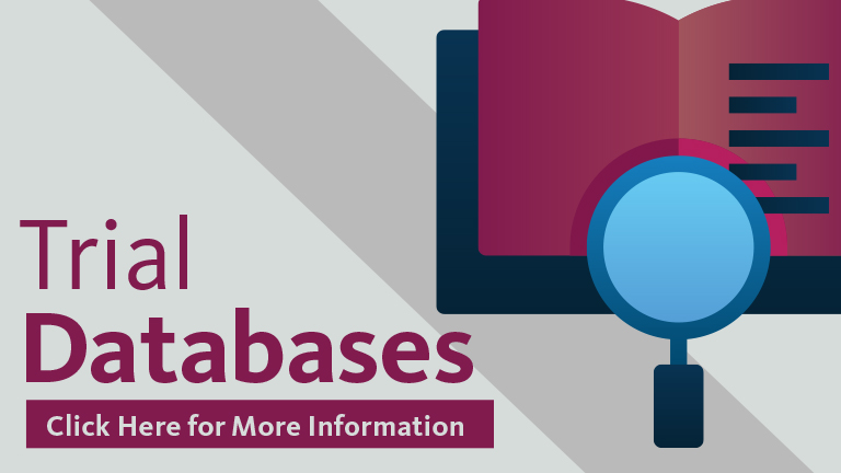 graphic with book and magnifying glass and the words Trial Databases