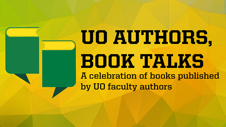 "UO Authors, Book Talks ""quote marks"" logo"