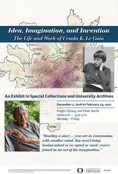 The Life and Work of Ursula K. Le Guin exhibit poster