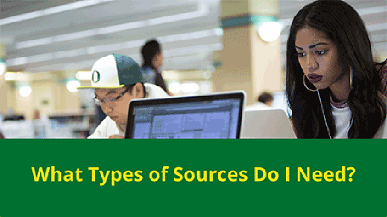 photo of woman looking at a laptop with a caption below that reads, What types of sources do I need?