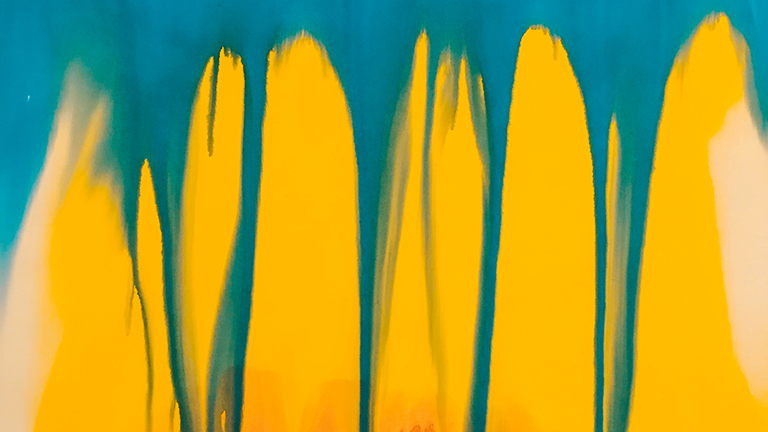 abstract painted image, blue paint dripping down over a yellow background