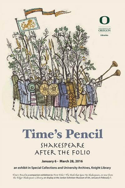 Poster image for Time's Pencil: Shakespeare after the Folio exhibit